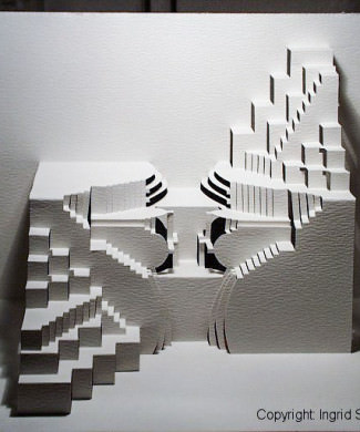 Upsidedown Pop-Up Paper Sculpture by Ingrid Siliakus