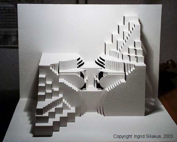 Upsidedown Pop-Up Paper Sculpture by Ingrid Siliakus