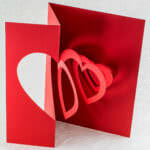 Helical Heart Valentine Pop Up Card (downward angle)