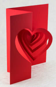 Helical Heart Valentine Pop Up Card Card
