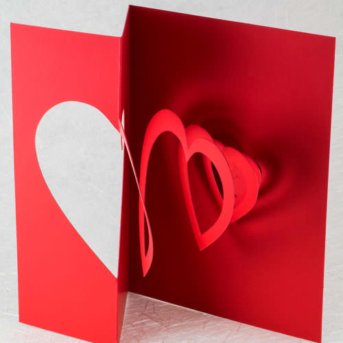 Helical Heart Valentine Pop Up Card (side)