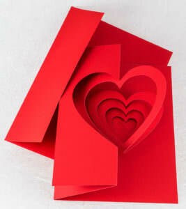 Helical Heart Valentine Pop Up Card with Envelope