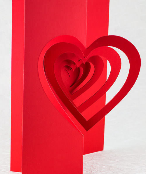 Helical Heart Valentine Pop Up Card (front)
